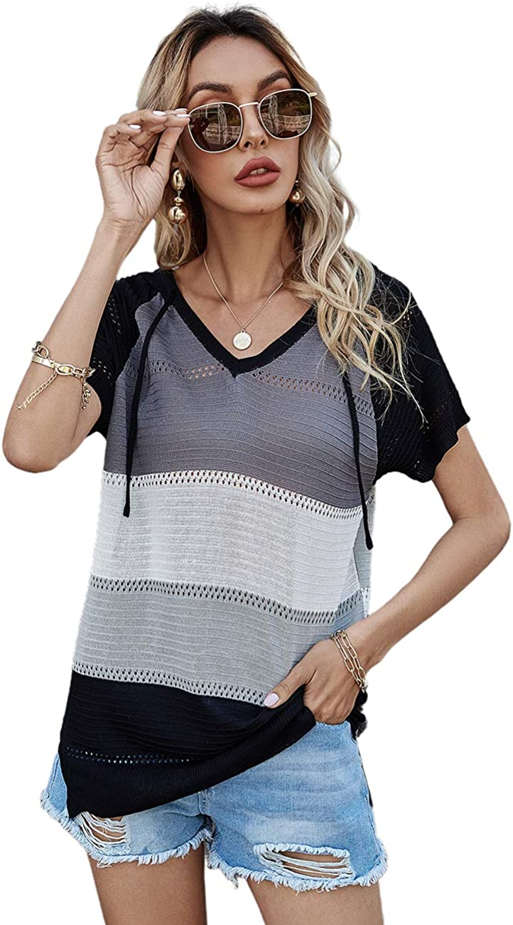 ADEWEL Womens V Neck T Shirt Summer Casual Loose Solid Basic Tunic Tee Top Blouse Drawstring Pullover