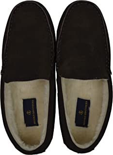 Brooks Brothers Men's 00122327 Faux Fur Lined Leather Slippers, Gray (Size: 11M)