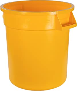 Carlisle 34101004 Bronco Round Waste Container Only, 10 Gallon, Yellow (Pack of 6)