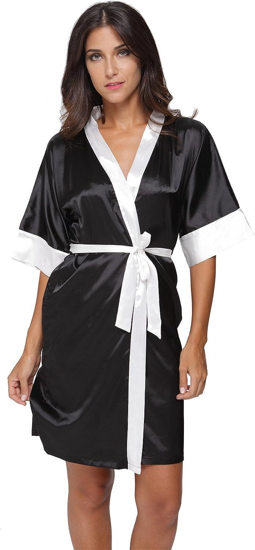 The Bund Women's Sexy Cheap Short Sleepwear Satin Lingerie Robe San Diego Mall