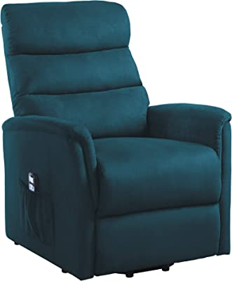 Homelegance Power Lift Recliner with Massage and Heat, Navy, Navy