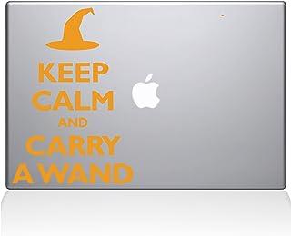 "The Decal Guru Keep Calm and Carry a Wand MacBook Decal Vinyl Sticker  - 13"" Macbook Pro (2015 & older) - Yellow (1109-MAC..."