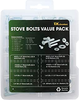T.K.Excellent Machine Screw and Hex Nut and Flat Washer #8 to #10 Slotted Round Head Assorted Stove Screw Kit,108 Pcs