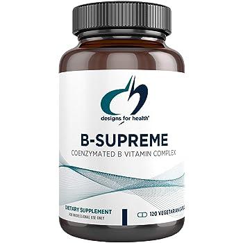 Designs for Health B-Supreme - B Vitamin Complex with B1, B2, B3, B6 + 12, Includes Active Folate, TMG + Choline (120 Capsules)