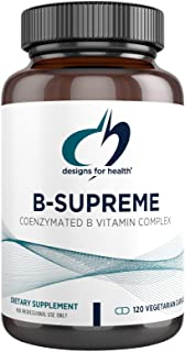 Designs for Health B-Supreme - Powerful B Vitamin Complex with B1, B2, B3, B6 + B12, Includes Active Folate (Methylfolate)...