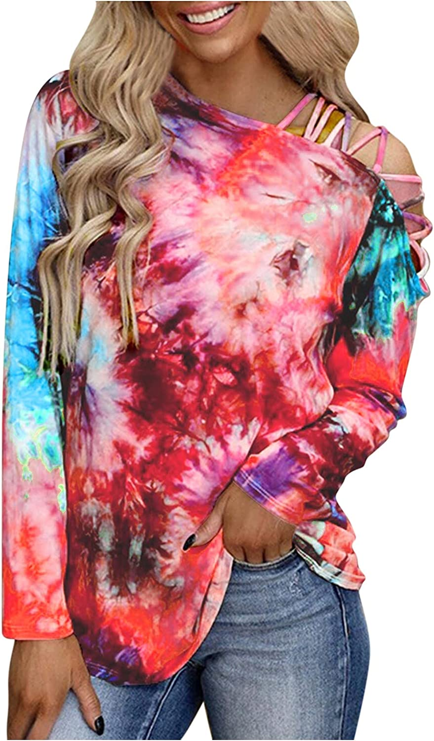 SSYUNO Women's Tie Dye Long Sleeves T Shirt Casual Crewneck Loose Blouses Cold Shoulder Strappy Tunic Top Pullover Sweatshirt