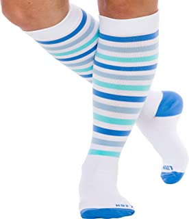 LISH Women's True Stripes Wide Calf Compression Socks - Graduated 15-25 mmHg Knee High Plus Size Support Stockings