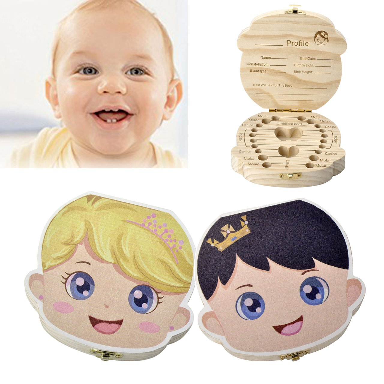 BESTZY Teeth Milk Teeth Saver Boxes Wooden Kids Tooth Box,Baby Save Boxes for Children,Cute Personality Baby Teeth Box Baby Tooth Keepsake Box