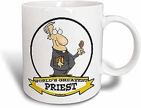 3dRose mug_103467_2 Funny Worlds Greatest Priest Occupation Job Cartoon Ceramic Mug, 15-Ounce