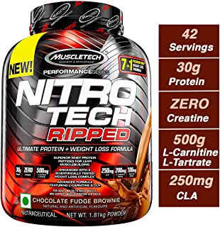 Muscletech 肌肉科技 Nitro Tech Ripped 超洁净乳清蛋白分离粉+减重配方,低糖,低碳水化合物,巧克力软糖布朗尼口味,4磅/1.81千克
