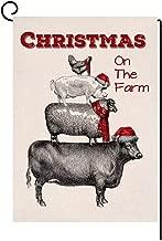 BLKWHT Christmas Farm Cow Small Garden Flag Vertical Double Sided Sheep Pig Hen Burlap Yard Outdoor Decor 12.5 x 18 Inches (147239)