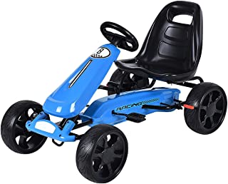 Costzon Go Kart, 4 Wheel Powered Ride On Toy, Outdoor Racer Pedal Car with Clutch, Brake, EVA Rubber Tires, Adjustable Seat (Blue)
