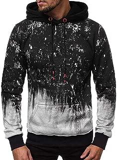 Mens Hoodies Pullover Beautyfine Men's Autumn Winter Print Sportswear Warm Long Sleeve Sweatshirts Blouse