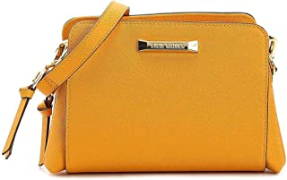 Steve Madden Women's Blannis, Cross-Body Handbags, Leather Material - Mustard Yellow