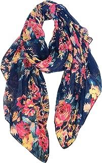 Lightweight Scarves Fashion Flowers Print Women Cotton Wrap Scarf