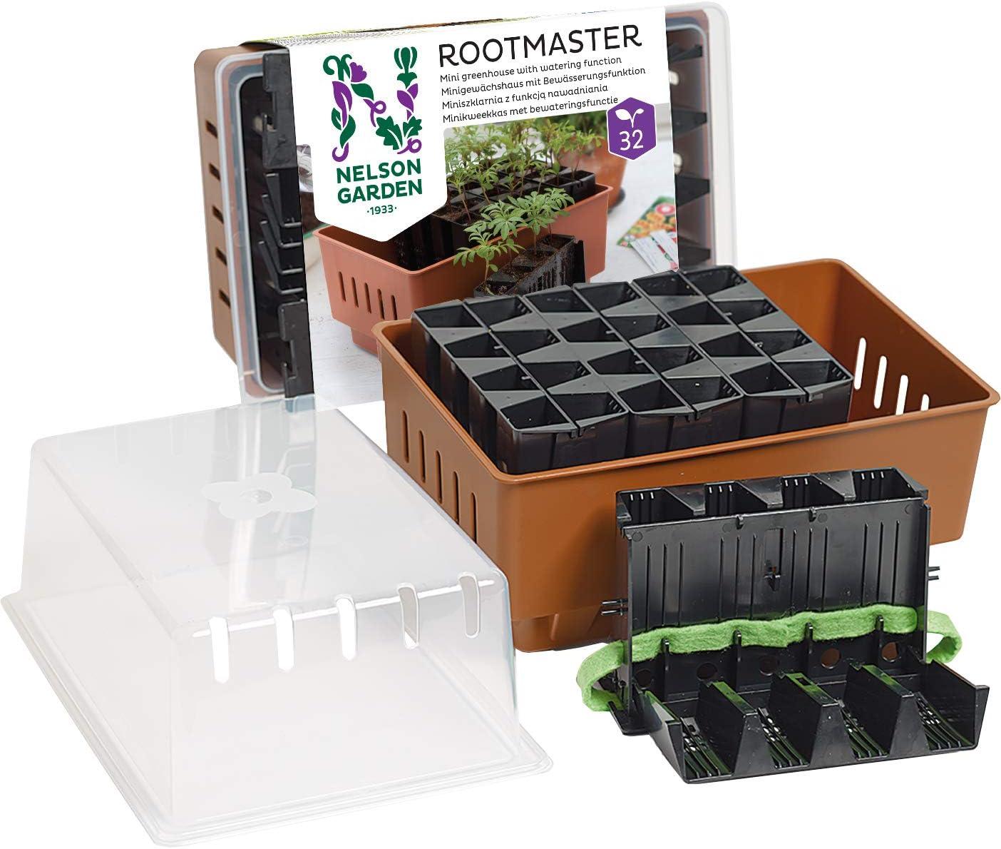 Nelson Garden 1933 Jardinera de cultivo para 32 plantas – Mini invernadero con riego (Mini Greenhouse Rootmaster 32 conectores)