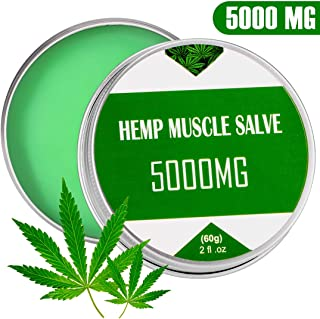 Hemp Oil Salve for Pain Relief - 5000MG Hemp Cream - Back, Neck, Knee Pain Relief - ALL Natural Extract - Fast Sore Muscle Relief& Good for Skin Health - Non-GMO