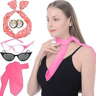 50's Costume Accessories Set Chiffon Scarf Cat Eye Glasses Bandana Tie Headband and Earrings