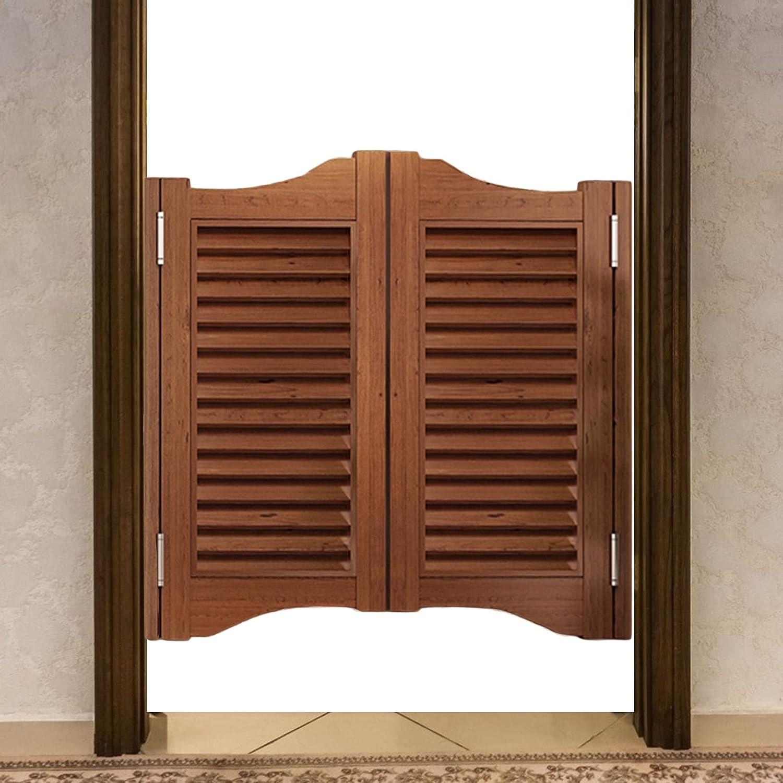 CAIJUN Puerta De Salón con Persiana, Marrón Bidireccional Abierto Madera Maciza Puertas Batientes De Café para Taberna Entrada, Panel De Decoración, Personalizable (Color : A, Size : 95x100cm)