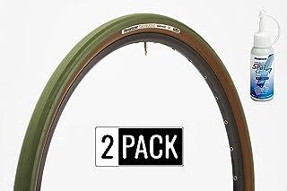panaracer GravelKing Slick Color Series Gravel/All-Road TLC Tires 2 Pack with Seal Smart Value Bundle Multiple Size/Colors Bown Sidewall