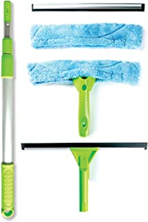 Telescopic Window Cleaning Kit with Super Squeegee and 3 Section Aluminum Extension Pole, Light Weight All-In-One 5 Piece Set - Microfiber Glass Washer (2), Soft Rubber Strip (2), Best for Windows