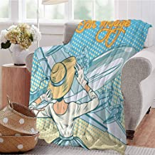 Summer Comforter Blanket Vintage Retro Lady Escorts Aircraft Pop Art Style Travel Comic Light Blue Yellow Sofa Camping Reading Car Travel W60 xL80