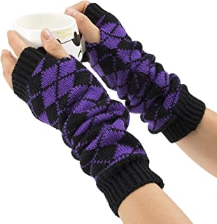 SGJFZD Womens Winter Knit Long Fingerless Gloves Thumbhole Arm Warmers Mittens Sexy Gloves (Color : Purple)