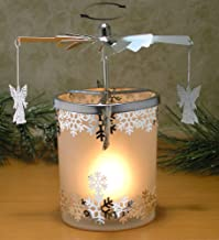 BANBERRY DESIGNS Spinning Candle - Frosted Glass Spinning Candle Holder - Angels and Snowflakes - Silver Metal with Laser ...