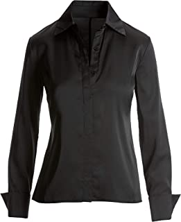 Boston Proper Silky Charmeuse Button Down Blouse for Women Long Sleeve with French Cuffs, Solid Color