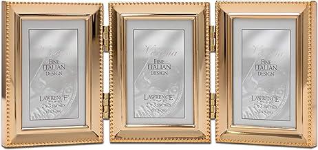 إطار صورة خرز كلاسيكي من لورانس، مقاس 2.5 × 3.5 ثلاثي، ذهبي