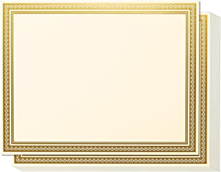 Award Certificates - 50 Blank Plain Paper Sheets - with Gold Foiled Metallic Border Computer Paper - Laser & Inkjet Printer Compatible - 11 x 8.5 Inches