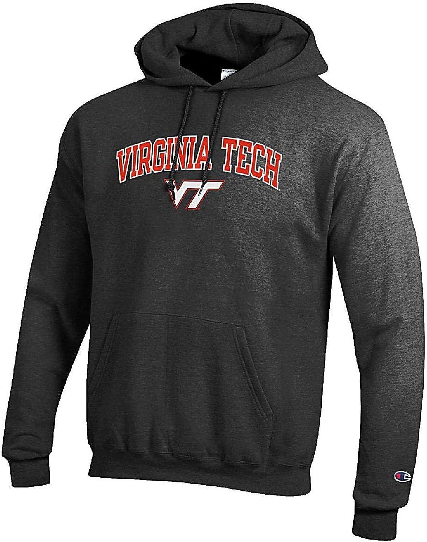 Virginia Tech Hokies Granite Heather Champion Campus Powerblend Screened Hoodie Sweatshirt