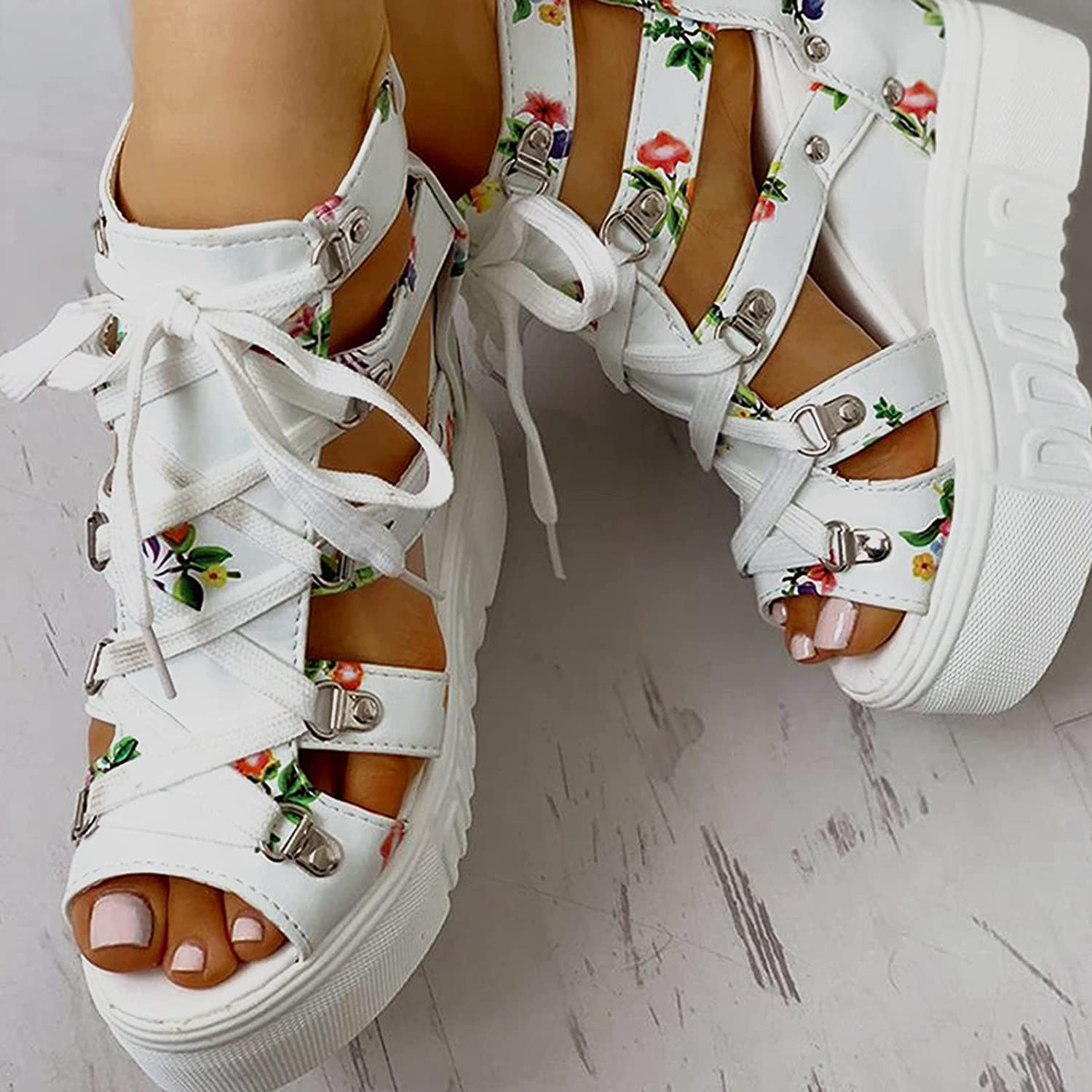 NIMIZIA Womens Sandals Fish Mouth Floral Lace-up High Heel Wedge Platform Sandals Casual Summer Beach Sandals for Women