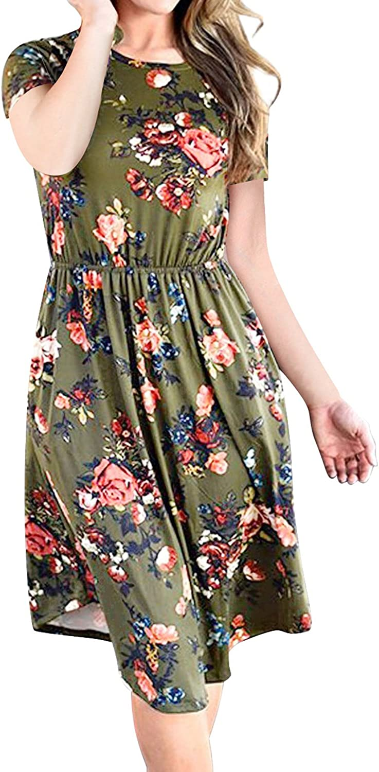 Mansy Womens Modest Casual Floral Short Sleeve T Shirt Dress with Pockets