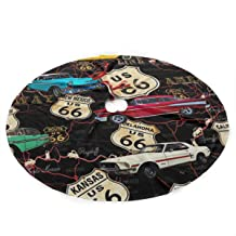 LALABULU Christmas Tree Skirt 35.5 Inches Xmas Tree Skirt Route 66 Christmas Decorations Indoor Outdoor
