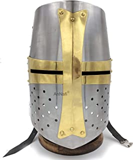 Sponsored Ad - AnNafi Brass Crusader Helmet | Medieval Metal Knight Helmets | Premium Quality with Fitted Leather Liner | ...