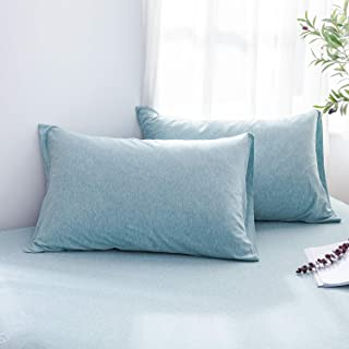 LIFETOWN 100% Jersey Cotton Pillowcases, King Pillowcase Set of 2, Super Soft and Breathable (King, Aqua Blue)