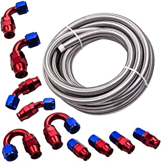 AN-10 Stainless Steel PTFE Fuel Gas Oil Line 20FT + Fitting Hose End Swivel Kit