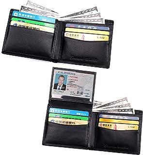 Mens Wallets RFID Blocking Genuine Leather Card Holder Slim Bifold Flip up ID