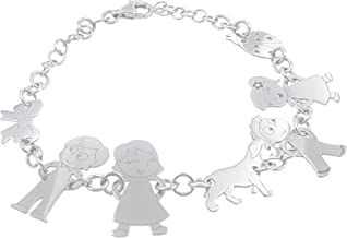 Bracciale personalizzato con 7 soggetti della tua Famiglia in argento 925.