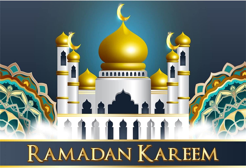 YongFoto 5x3ft Special Campaign Ramadan Kareem Backdrop Eid Max 43% OFF Golden Mubarak Mosque