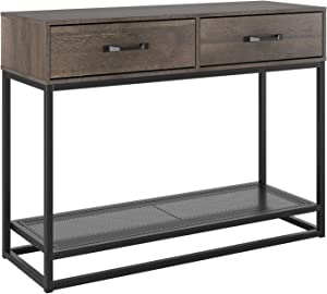 """HOMECHO Console Table, Sofa Table, Industrial Entryway Table with 2 Drawers and Storage Shelf, for Entryway Hallway Living Room (40"""", Rustic Brown)"""