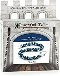 Weave Got Maille 3-Color Byzantine Chain Maille Bracelet Kit, Misty Blue