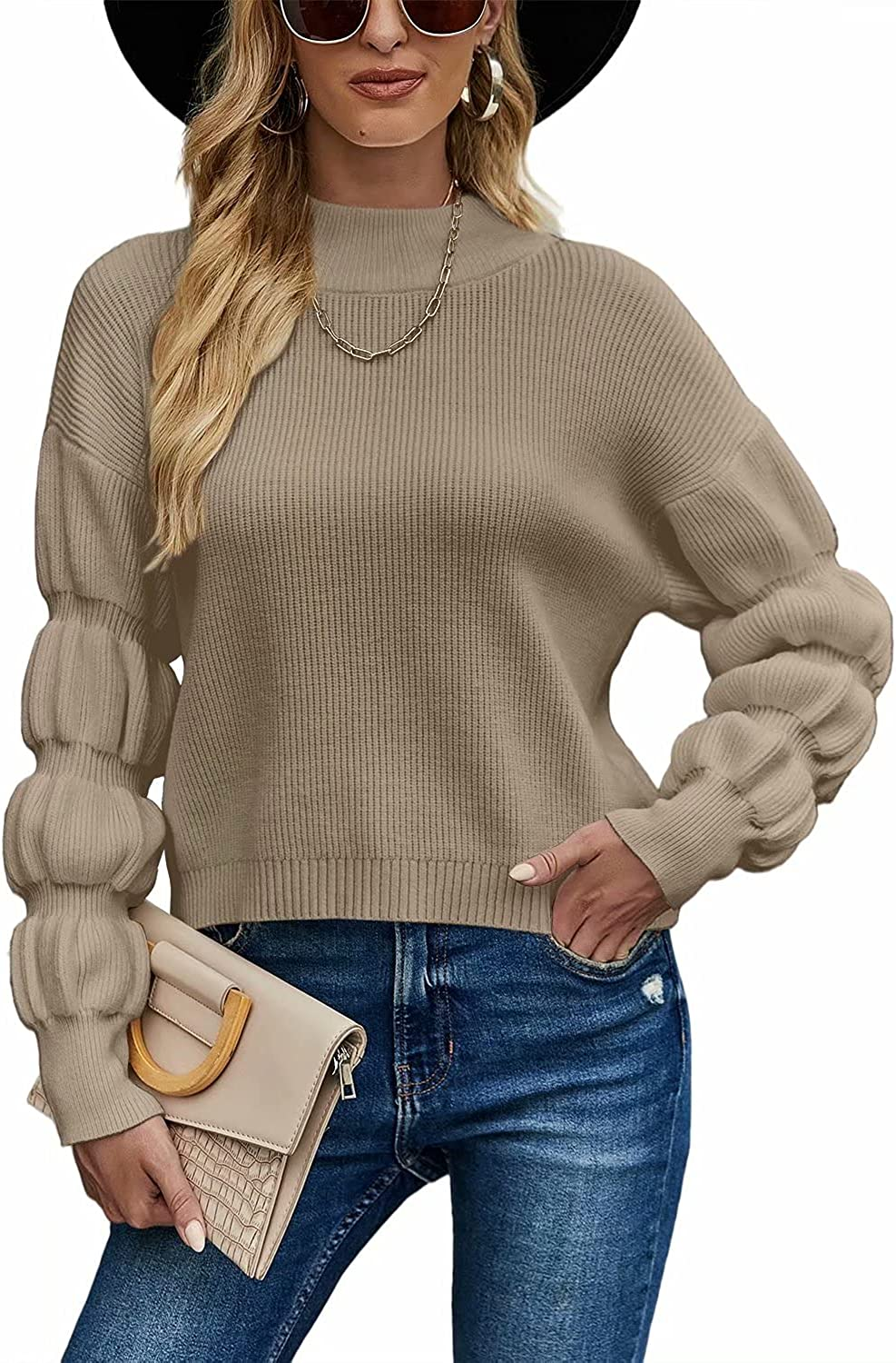 SUPERLOOK Women's Turtleneck Puff Sleeve Sweater Loose Casual Ripped Knit Pullover Jumper Top