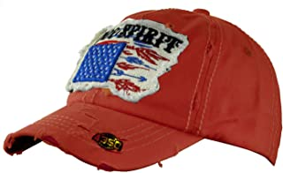 NYFASHION101 Women's Distressed Unconstructed Embroidered Baseball Cap Dad Hat, Spirit, Red