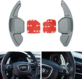 iJDMTOY Gun Metal Grey CNC Billet Aluminum Steering Wheel Larger Paddle Shifter Extension Covers For Audi A3 A4 A5 A6 A7 A8 Q3 Q5 Q7