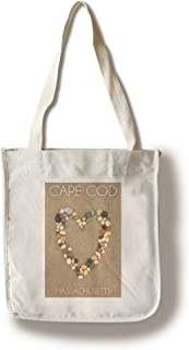 Lantern Press Cape Cod, Massachusetts - Stone Heart on Sand (100% Cotton Tote Bag - Reusable)