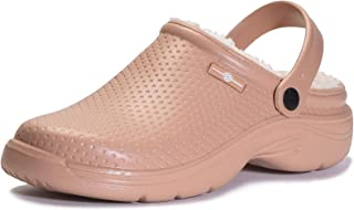 Hombres Lined Clog Mujeres Zuecos con Forro Pelusa Caliente Zapatos de jardín Impermeable Pantuflas Interior Zapatillas Un...