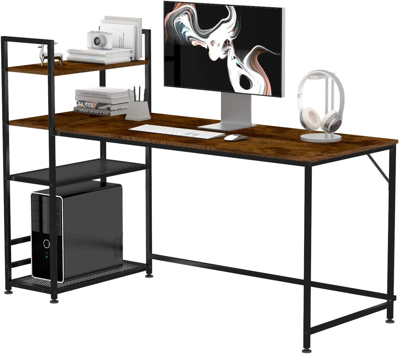 Modern Simple Style Desks for Bedroom Office HOMIDEC Writing Computer Desk Home Office Work Desk with Bookshelf Study Laptop Table with 4 Tier DIY Storage Shelves 62.9x23.6x43.3inch