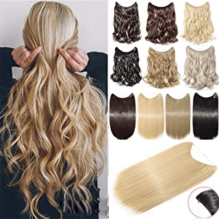 Secret Headband Wire in Natural Hair Extensions Rubber Band Hairpieces Real Natural as Human Hair 90g Synthetic Fibre Hair for Women(16